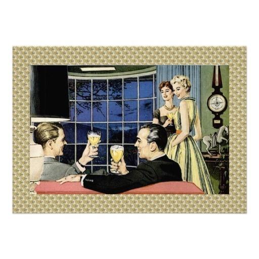 Retro housewarming party custom invitation housewarming for Classic housewarming gifts