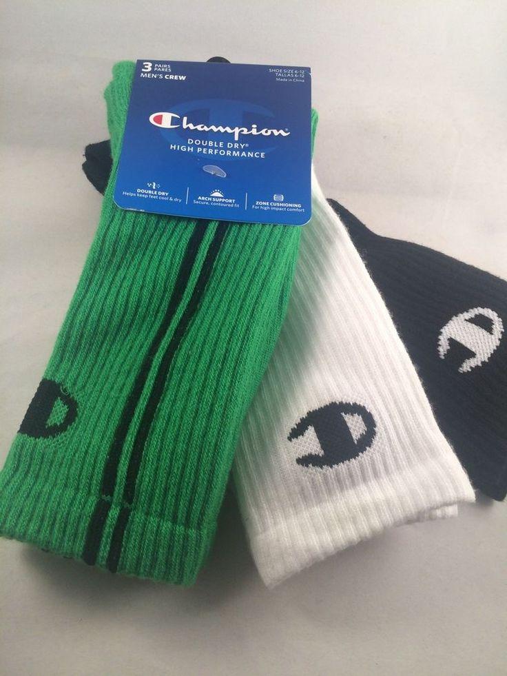 Mens Champion Socks Shoe Size 6-12 Green White Black 3 Pair #Champion #Athletic