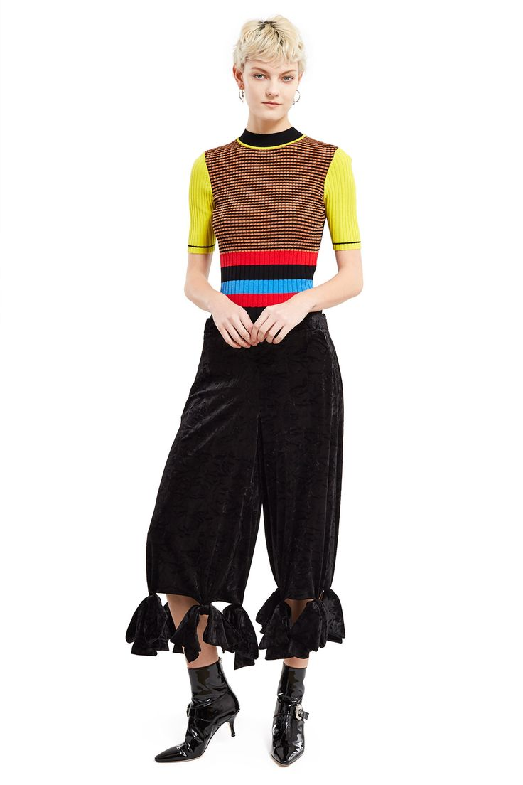 Opening Ceremony, Crushed Velvet Bow-Tie Cropped Pants , Crushed velvet, Bow tassel detail along hem, Cropped style, Hidden side zipper closure, Fully lined, Body: 92% polyester, 8% spandex; lining: 100% polyester