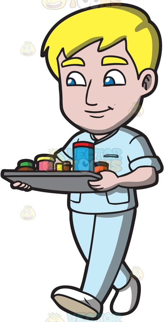 A male nurse delivering medication to patients :  A man with blonde hair wearing a set of light blue hospital scrubs and white shoes walks and smirks as he carries a gray tray full of medicine containers that he will deliver to the patients  The post A male nurse delivering medication to patients appeared first on VectorToons.com.