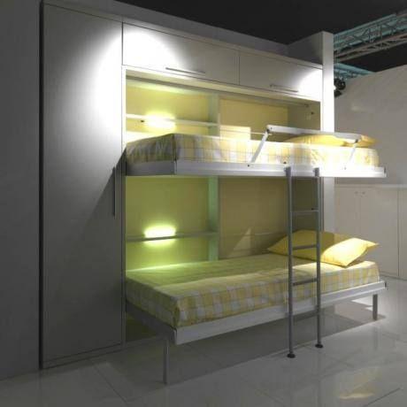 Rumslösning med våningsväggsäng / sängskåp Rooms solution with bunk wall bed.
