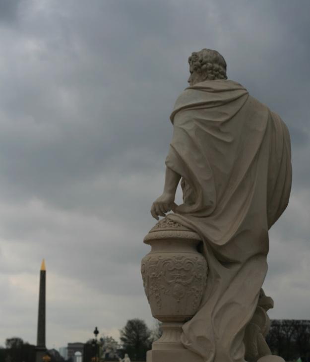 Paris sculpture on a cloudy day.