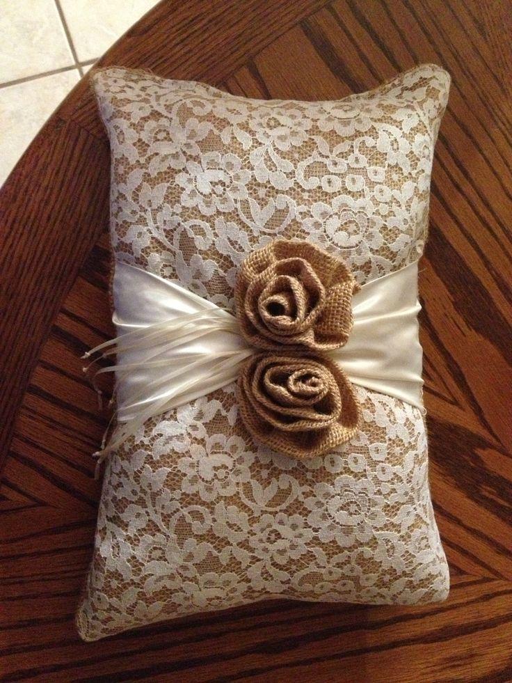 Burlap and Lace... Ring bearer pillow