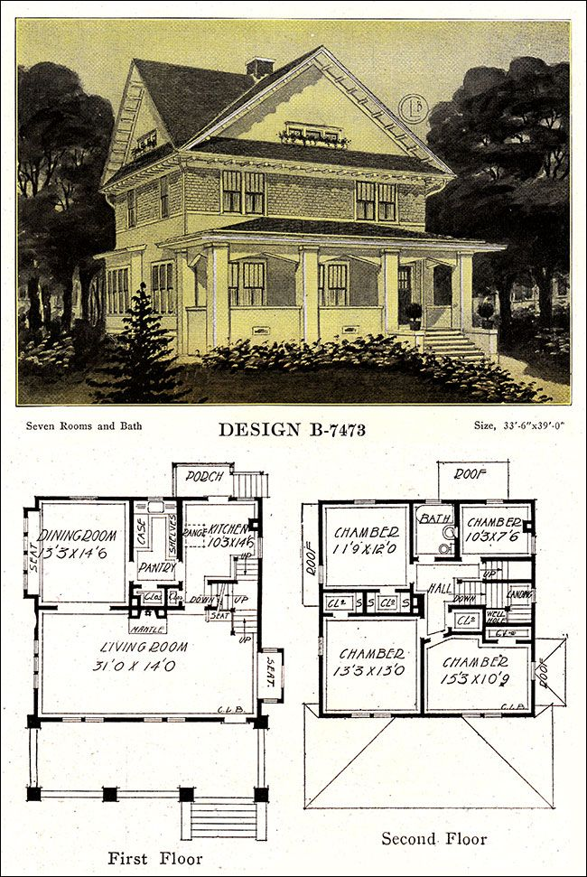 Craftsman foursquare house plans for Vintage floor plans