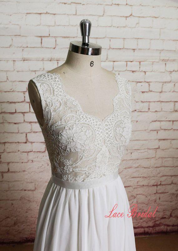 Sheer Ivory Lace Bodice Wedding Dress with A-line Chiffon Skirt