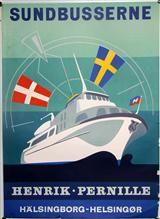 Lauritz.com - Jonna B. 'Sundbusserne Henrik Pernille', litografisk plakat, 1958