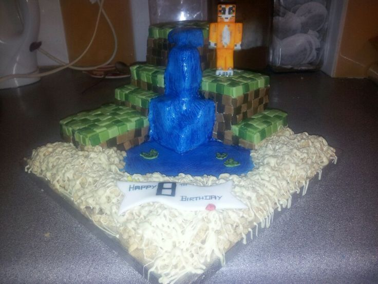 Minecraft cake with stampy cat, made by Rachel Nugent ...
