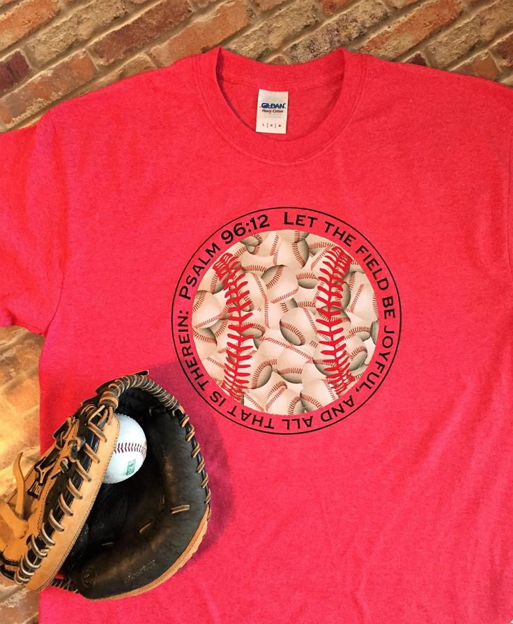 Baseball Shirt, Baseball Tee, Psalm 96:12, Baseball Mom Shirt, Baseball Applique, Let the Field be Joyful, Baseball T-Shirt, Fabric Applique by theshabbystitchery on Etsy