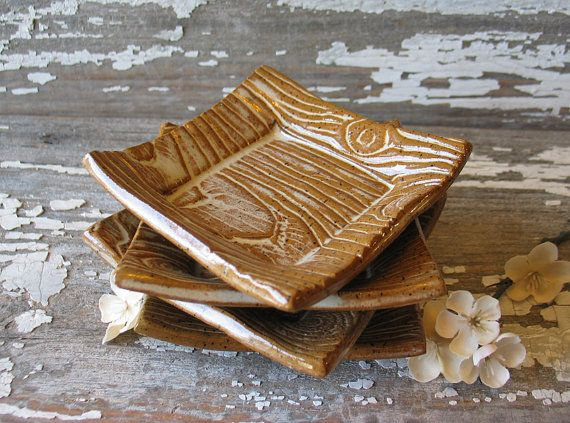 Faux Bois Square Dish - Wood Grain - Trinket Dish - Wedding Favor - Ring Bowl - Soy Dish