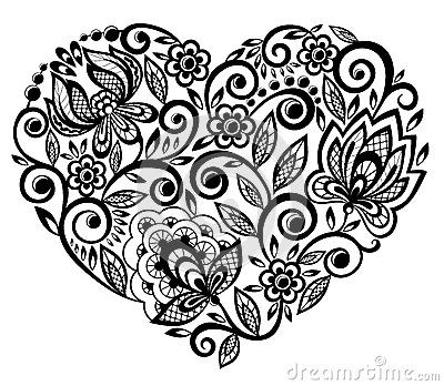 Beautiful Silhouette Of The Heart Of Lace Flowers Stock Photography - Image: 29638862
