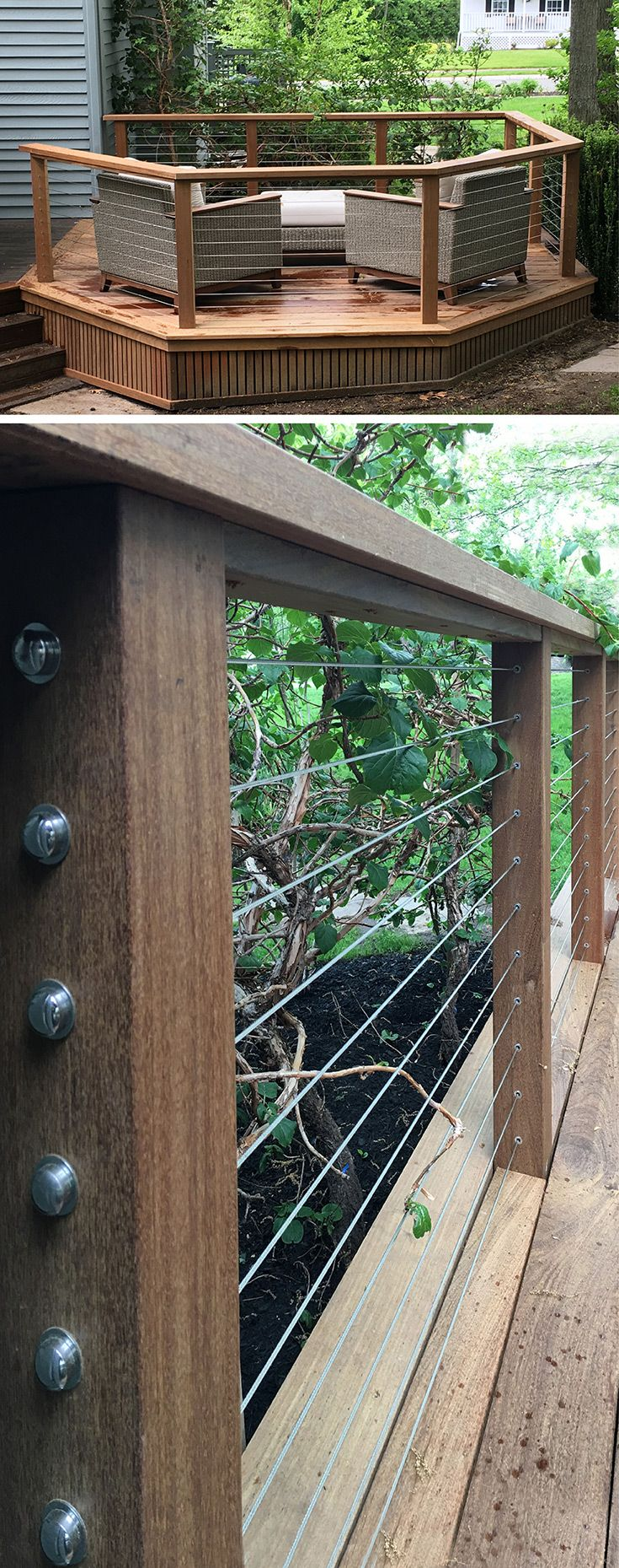 Premier builders' latest award winning project is a natural maple deck with a stainless steel cable rail.