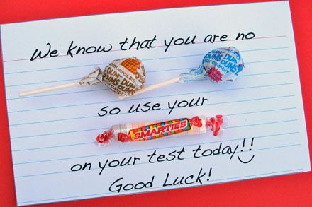 A very cute way to offer encouragement to your kids in school. :)