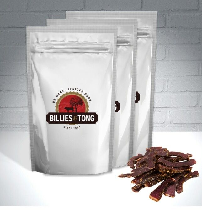 Biltong in plan, garlic or chilli only £3.00 for a 100g pack. www.billiesandtong.co.uk