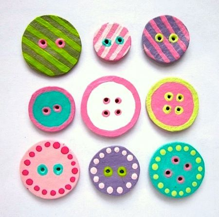 Buttons made from egg cartons. Just a simple decoration done in some vibrant colors.