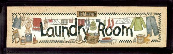 Retro Country Primitive Vintage LAUNDRY Room Sign HELP WANTED Spivey Picture