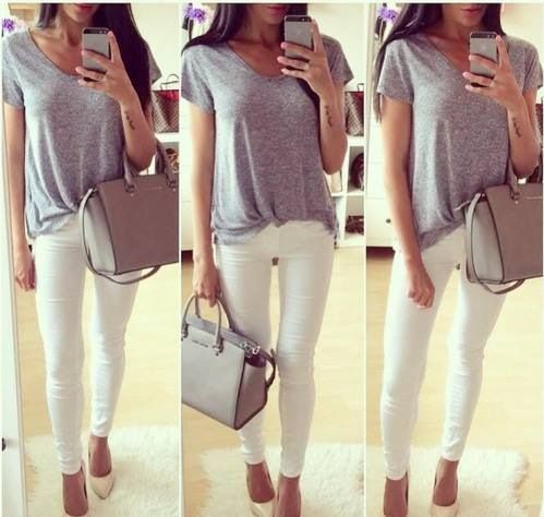 Spring Outfit - White Skinnies and Tee Pinterest: @ cheyennekennedy