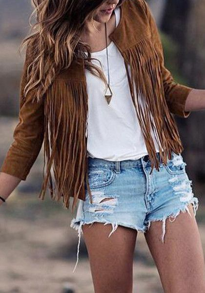 This fringed brown suede blazer features an open front, full lining, and is non-stretchable. | Lookbook Store Bohemian Style