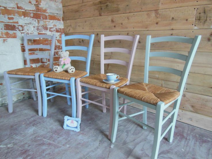 Beautiful Shabby Chic Mismatch Chairs - Great British Bake Off Painted with Annie Sloan Chalk Paint. Another beautiful set by Chic Boutique Furniture in Leicester. www.chicboutiqueuk.co.uk