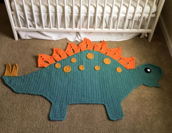 Dinosaur Crochet Rug Nursery Decor Baby Shower Gift Accent Rug Dinosaur Decor Animal Rug Nursery Rug Dinosaur Nursery Dino Crib Animal Rug Dinosaur Decor Dinosaur Rug
