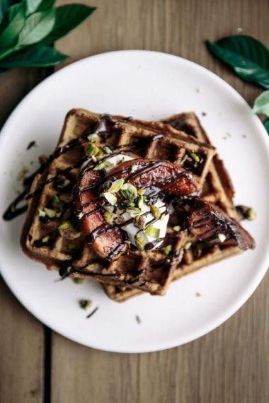Vanilla Buckwheat Waffles with Caramalised Peaches, Dark Chocolate & Pistachios     Gather & Feast