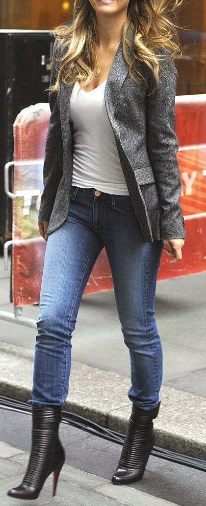 Street style denim, grey blazer and booties simple eye catching style