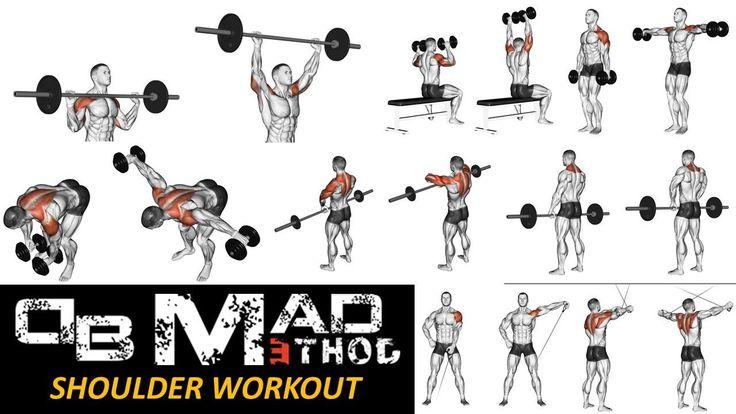 allenamento di tipo SPLIT ROUTINE (allenamento frazionato) dove per le SPALLE sono previsti i seguenti esercizi:  1) Military press in piedi; 2) Distensioni con manubrio da seduto (senza appoggio per la schiena); 3) Alzate laterali a braccia tese; 4) Alzate a 90 5) Tirate al mento 6) Scrollate con bilanciere 7) Isolamento al cavo basso 8) Cavi incrociati www.db-madmethod.com #workout #allenamento