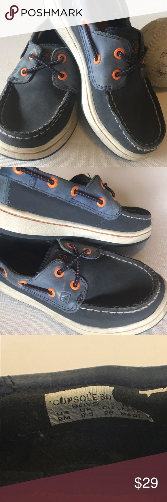 Sperry Top Sider Shoes Adorable pair of Childrens Sperry's. In great condition. Your child will look very stylish. Pop of orange on the blue shoe. Normal wear from previously worn shoe. Overall in good condition. Soles in excellent condition. Sperry Top-Sider Shoes