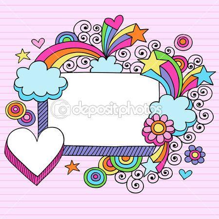 Rectángulo 3d arco iris psicodélico Groovy y marco corazón frontera garabatos-mano alzada vuelve a escuela doodle vector ilustración…