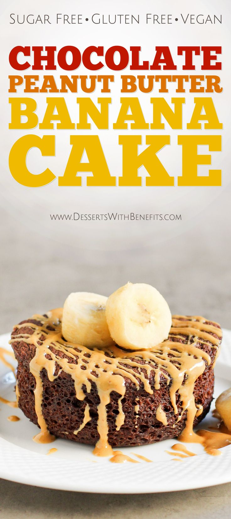 You can make this healthy-without-the-healthy-taste Single-Serving Chocolate Peanut Butter Banana Microwave Cake in five minutes flat! It's so light, fluffy, and moist, it's hard to believe it's also refined sugar free, high protein, high fiber, gluten free, and vegan! -- Healthy Dessert Recipes at the Desserts With Benefits Blog
