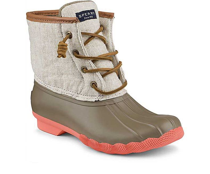 Sperry Top-Sider Saltwater Duck Boots for Women in Taupe and Natural Hemp