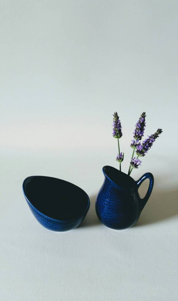 Collectible Rorstrand 'Bla eld' blue creamer and sugarbowl Hertha Bengtson Swedish 1950 by NordicFiesta on Etsy