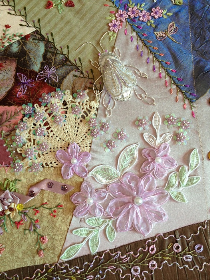 Beautiful crazy quilt block from Arlene's Blog