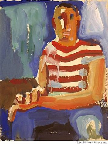 """Seated Man"""" (1960) gouache on paper by David Park http://www.google.com/imgres?hl=en=firefox-a=hPb=X=org.mozilla:en-US:official=1360=606=isch=imvnso=ffwi8xqqVL4QGM:=http://www.sfgate.com/entertainment/article/Galleries-David-Park-evokes-simple-humanity-3211297.php=http://ww1.hdnux.com/photos/10/76/50/2353724/11/628x471.jpg"""