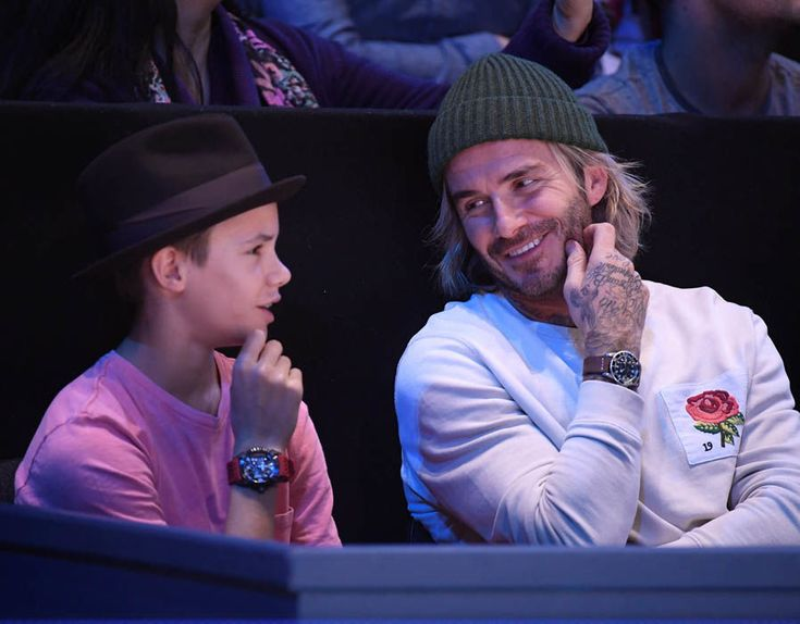 David Beckham and his son Romeo are spotted at the ATP World Tour Finals watching Grigor Dimitrov take on David Goffin