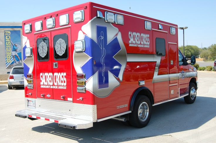 A Sacred Cross ambulance based in Denton.  A private transfer ambulance company.