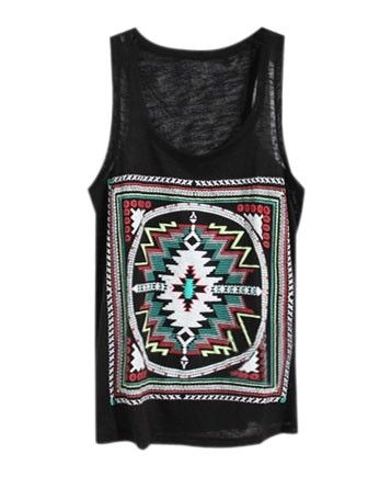 Print Sheer Tanks in Black - Tanks & Vest Tops - T-shirts & Tanks - Clothing