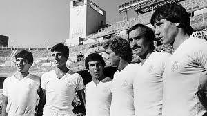 Alineación del Real Madrid en 1977 con Escribano, Sabino, Juanito, Wolff y Stielike. TEODORO NARANJO