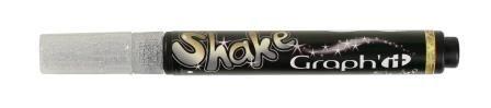 Shake tusch pen med sølv farve til stenmaling, maling på tekstiler, glas, papir og meget mere.