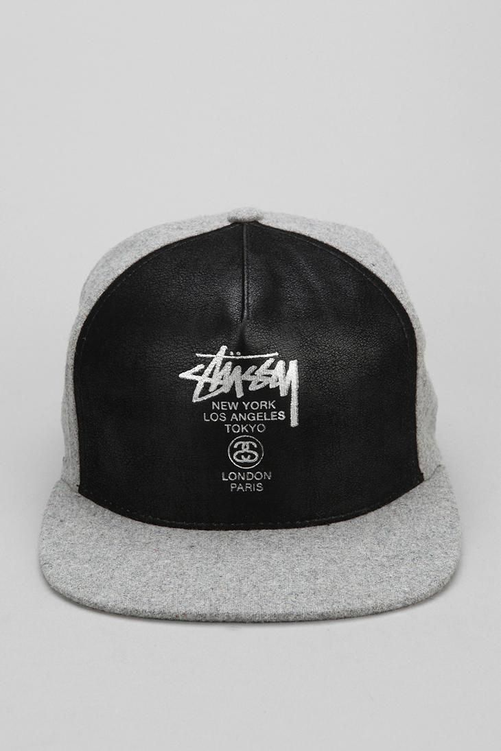 35c2ca6f2c4 Awesome faux leather snapback hat from Stussy.  urbanoutfitters  CoolHats