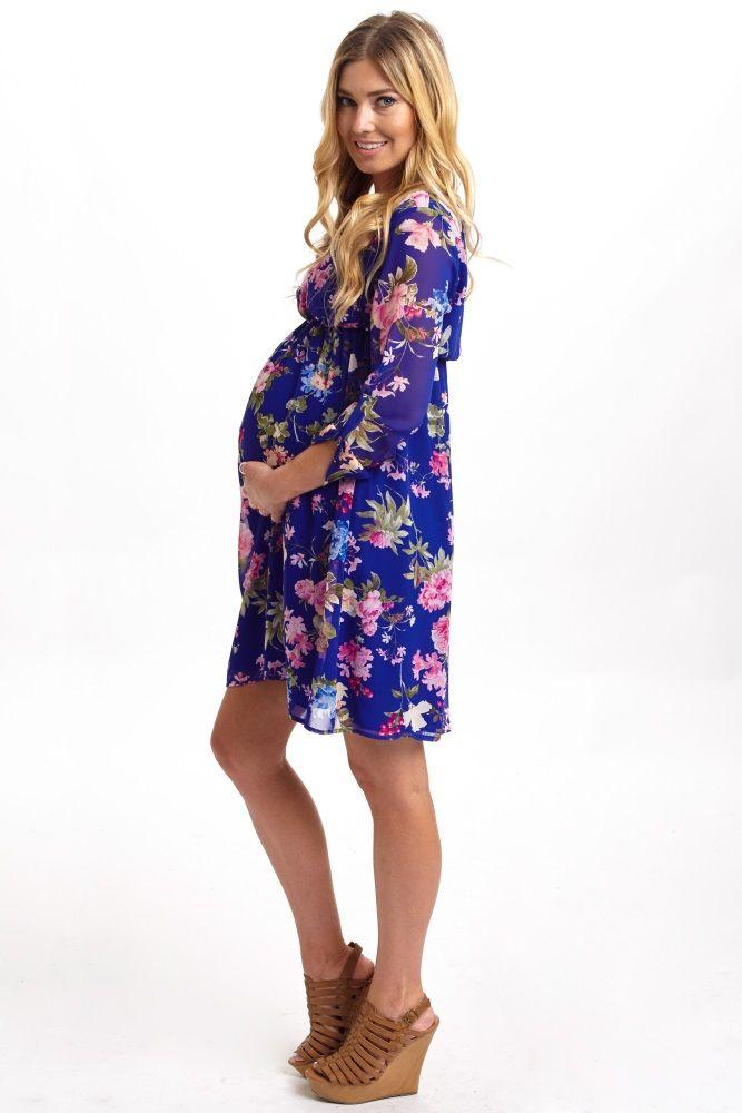 royal blue floral 34 sleeve chiffon maternity dress