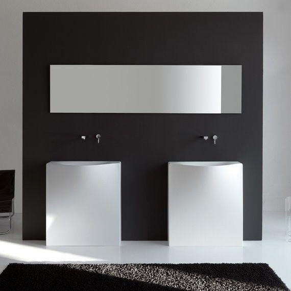 Art Ceram | wandstehendes Waschbecken Back | Livingtec | Ausführung ohne Hahnloch