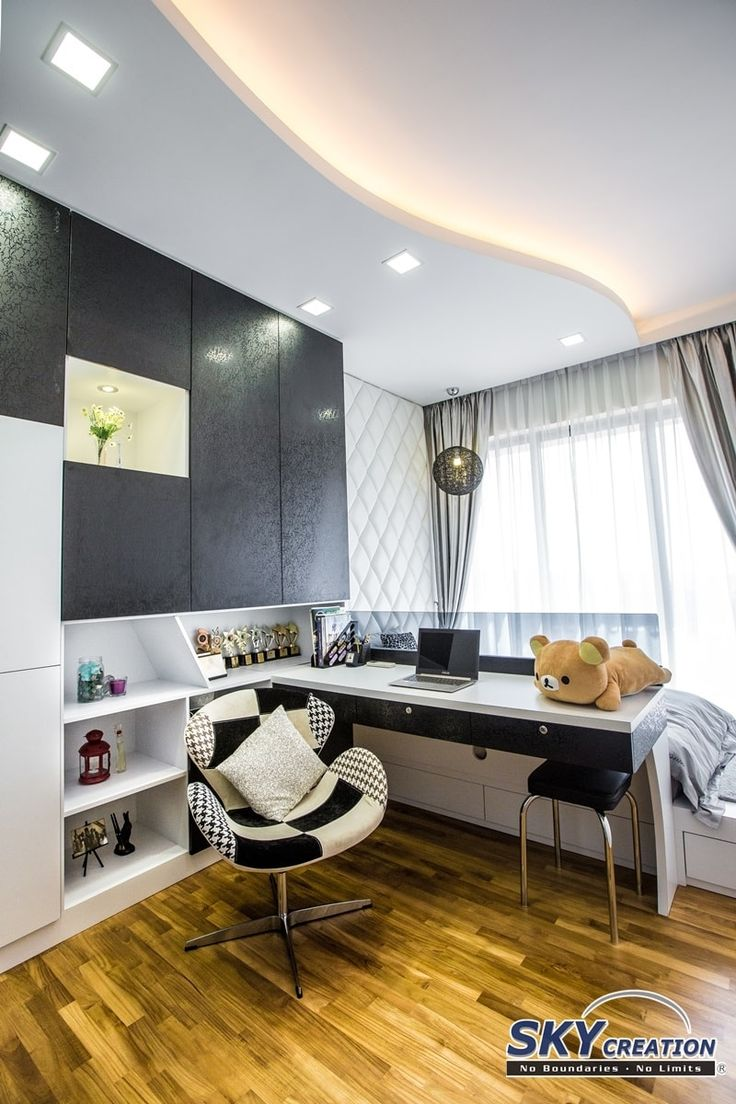 Interlace, Modern Condominium Interior Design, Bedroom with Study Area