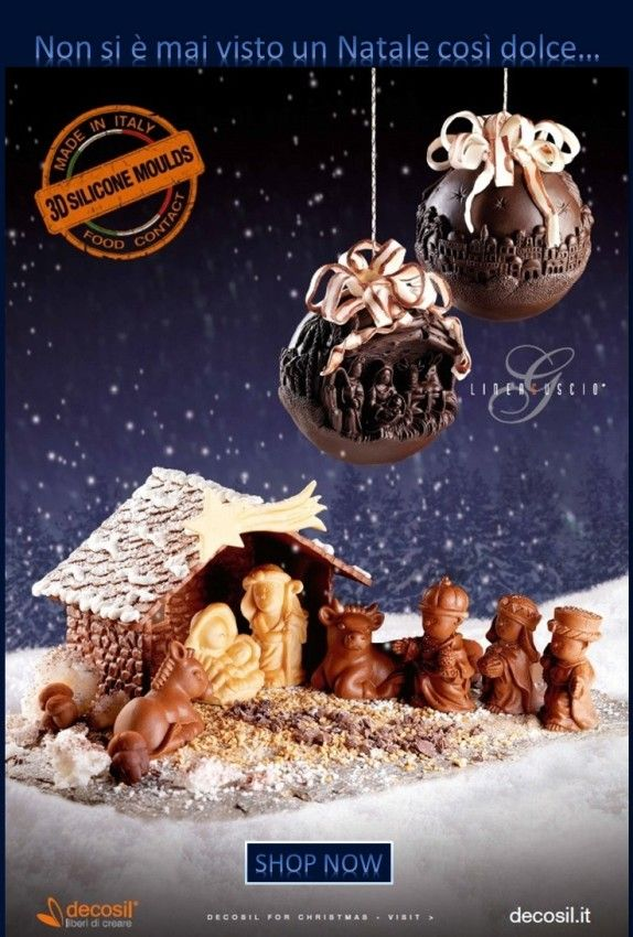 Presepe e sfere di cioccolato in 3D realizzate con stampi decosil. www.decosil.it .  - 3D Moulds to create a wonderful Chocolate Nativity Scene. www.decosil.eu #chocolate #christmas #cioccolato #natale