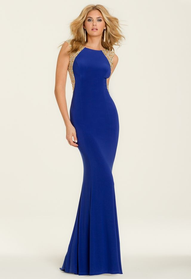 Jersey Dress with Beaded Illusion Back from Camille La Vie ...