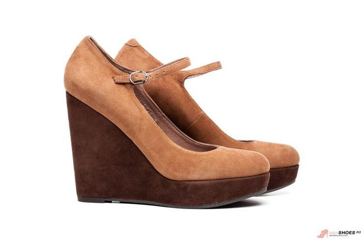 Pantofi Platforma Bruno Premi - Maro Caramel - 12cm