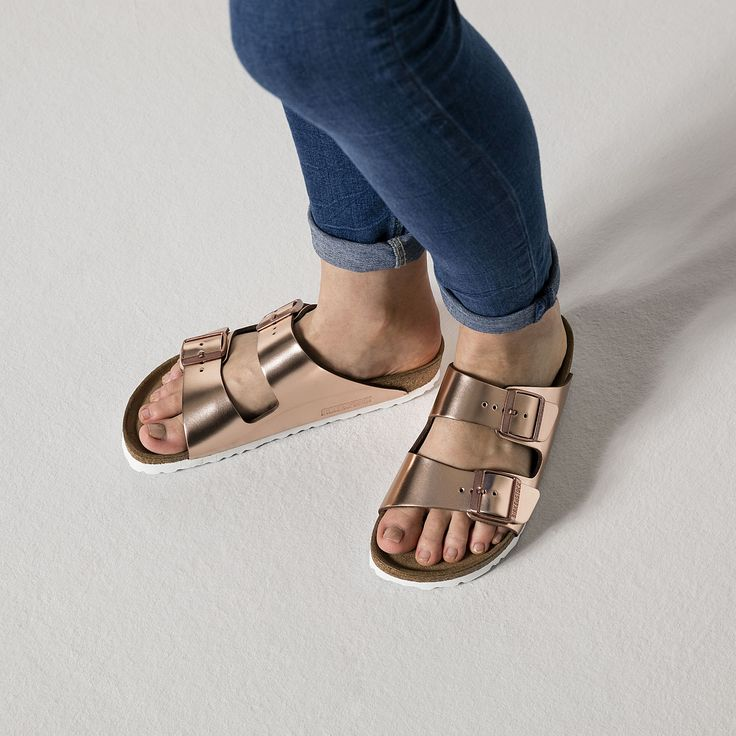 Arizona Natural Leather Soft Footbed Metallic Copper