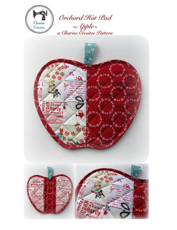Orchard Hot Pad Apple PDF Pattern by ChariseCreates on Etsy
