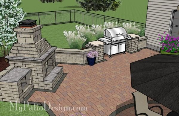 patio fireplace grill layout plan
