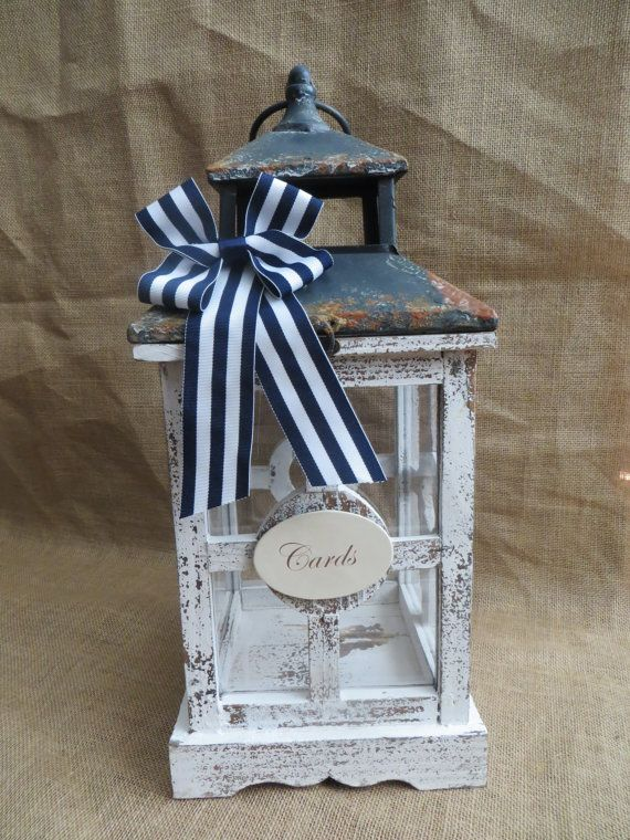 Nautical Wedding Lantern Card Holder Beach by TheHauteBoxBoutique $75 including shipping