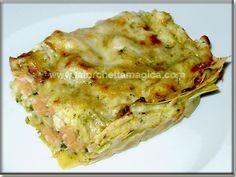 Lasagne con gamberi zucchine e pesto